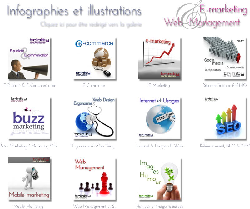 Infographies e-commerce et illustrations e-marketing web management