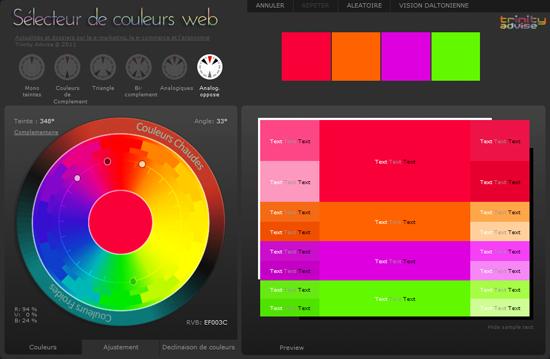 Signification des couleurs en e marketing et en ergonomie web conseil internet formations e for Choix de couleurs